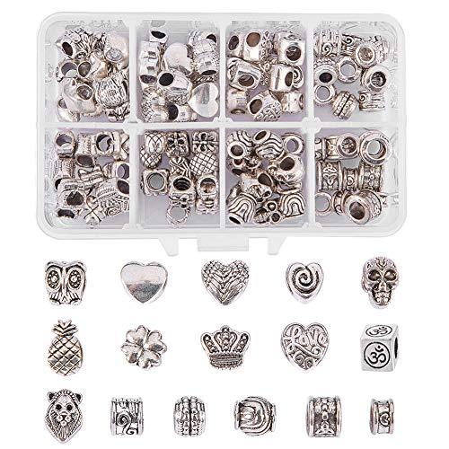 NBEADS 1 Schachtel mit 96 Stück tibetischen Antik Silber Spacer Perlen große Loch perlen (16 gemischte europäische Perlen) für Armband Charms