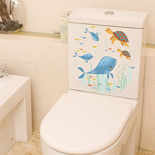 Rainbow Fox Animal Stickers muraux Mignonne Dauphin Requin et Tortue Toilette Couverture Autocollants carnet/frigo Autocollants (ZY259)