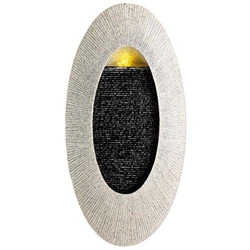 Kaemingk LED-Beleuchteter Wandbrunnen Sandstein-Optik Oval | Maße: 8,8 x 29 x 58 cm
