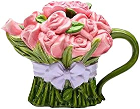 Cg 20808 8 Oz Ceramic Pink Rose Bouquet Teapot Wrapped in Lavender Bow