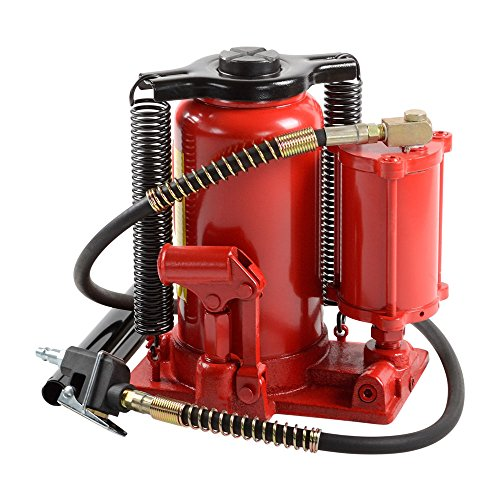 ATE Pro. USA 90344 20 Ton Air/Hydraulic Bottle Jack, 12.6' Height, 12.6' Width, 9.44' Length
