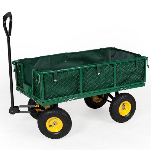 TecTake Carretto carrello rimorchio in ferro rimorchio trasport legna giardino carro 350kg