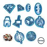 Albuman Lot de 10 moules en plastique pour gâteau Motif super-héros Batman Superman