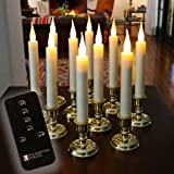 Set of 10 Flameless Battery Operated LED Ivory Taper Window Candles with Daily Timer, Removable Silver Candle Stands, Remote Control and 20 AA Batteries Included