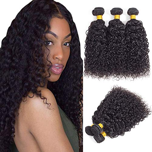 Brazilian Virgin Hair Kinky Curly Hair Bundles Virgin Brazilian Kinkys Curly Weave Human Hair Bundles Curly Bundles Natural Black Color(16 18 20)