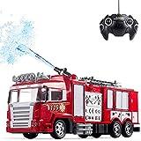 Moerc Simulación RC coche de bomberos juguetes con música y regalos de los muchachos RC camiones de juguete for niños Luz RC Ingeniería de coches de control remoto de vehículos for niños 360 ° Rotar S