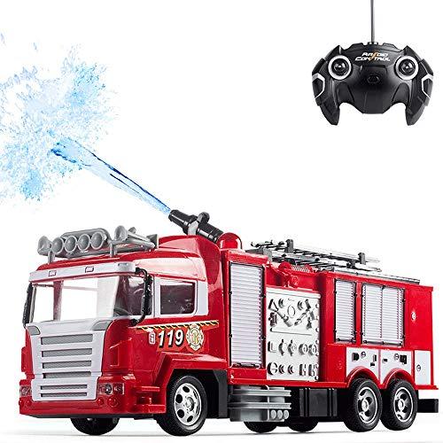 Moerc Simulación RC coche de bomberos juguetes con música y regalos de los muchachos RC camiones de juguete for niños Luz RC Ingeniería de coches de control remoto de vehículos for niños 360 °
