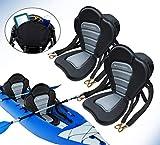 Pactrade Marine Adjustable Straps Black Gray Padded Deluxe Kayak Seat Detachable Storage Back...