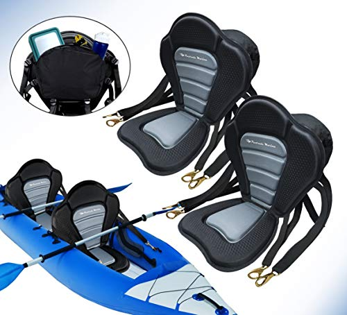 Pactrade Marine Adjustable Straps Black Gray Padded Deluxe Kayak Seat Detachable Storage Back Backpack Bag Canoe Backrest Support Cushion Sit On Top Fishing Brass Clips Canoeing Kayaking Rafting (2)