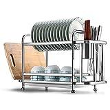 Double Couche Support à égouttoir, Aluminium Grande Capacité Égouttoir à Couverts Multifonction Sechoir Vaisselle Égouttoir à Vaisselle