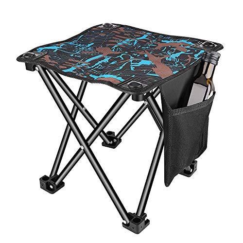 Unihoh Camping Stuhl Hocker Klein Klapphocker Kompakter Faltbar Strandstuhl Tragbarer Outdoor Fauler Stool Hocker, für Rucksackreisen Wandern Angeln BBQ,4-Bein-Hocker Stühle mit Tragetasche