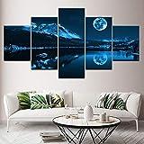 Moderne Dekoration Home Wandkunst Modulare Bilder Leinwand 5 Stück Abstrakt Blue Moon Night Scene Gemälde HD-Druck (size2)