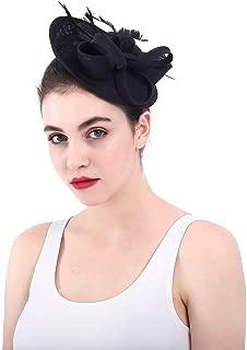 Light Sinamay Headband Fascinator Aliceband Wedding Cocktail Royal Ascot Fashion Show Women (Color : Black)