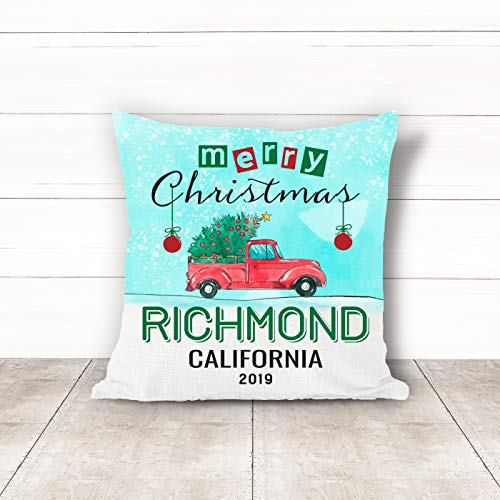 Christmas Pillow Covers 18 x 18 Inches Merry Christmas 2019 Richmond California CA Pillow Decorations for Xmas Autumn Pillow Covers Home Decor Design for Sofa Bedroom Car