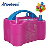red birthday blowers - Anordsem Balloon Pump Electric Air Portable Dual Nozzles Balloon Inflator Devices 120V-60HZ 600W Pastel Balloon Blower for Decoration/Birthday/Party/Wedding (Rose Red)