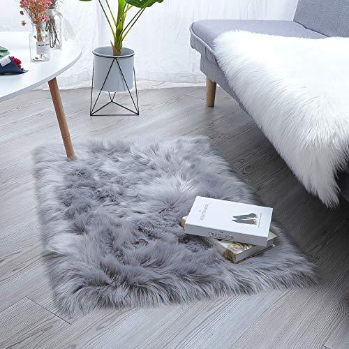 HEQUN Faux Lammfell Schaffell Teppich Flauschig Weiche Nachahmung Wolle Teppich Longhair Fell Optik Gemütliches Schaffell Bettvorleger Sofa Matte (Grau, 60 x90cm)