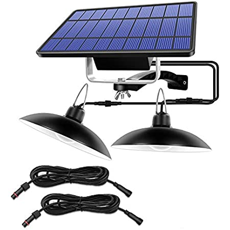 Upgraded Double Head Solar Pendant Light Solar Powered Shed Lamp Lights Outdoor Indoor Auto On Off Hanging Dusk to Dawn for Barn Gazebo Storage Room Balcony Chicken Coop Camping Home Garden Yard