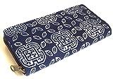 (クリスプ) KURISP モン族 藍染め ろうけつ染め ラウンドファスナー 長財布 ロングウォレット (B)