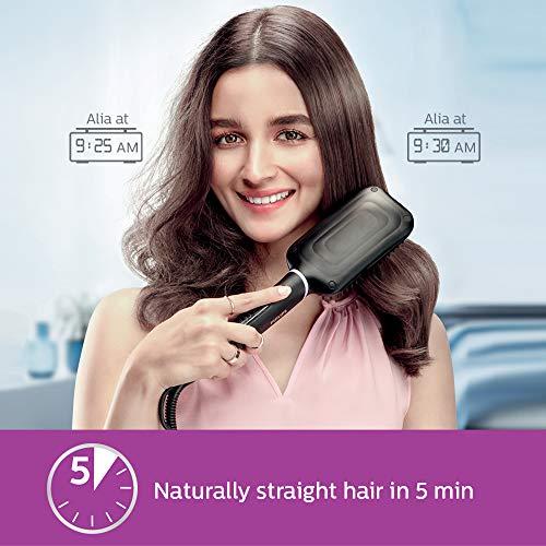 Philips BHH880/10 Hair Straightening Brush with keratin infused bristles (Black)