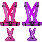 Reflective Running Vest,Safety Reflective Vest with Adjustable Strap for Running,Cycling, Motorcycle and Walking,Fits over Outdoor Clothing,Breathable Waterproof Lightweight (2 Pack Purple Pink)