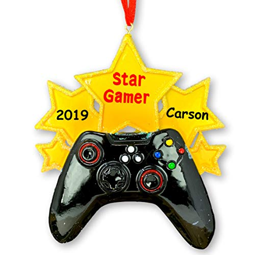 Personalized Star Gamer Video Game Controller Hanging Christmas Ornament with Your Custom Name and or Date
