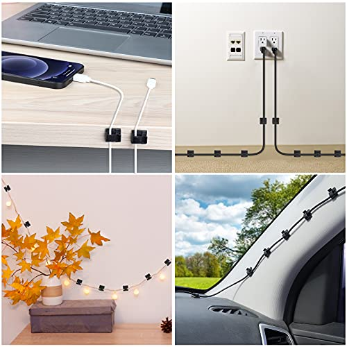60 PCS Adhesive Cable Clips, Upgraded Wall Wire Clips for Cable Management, Strong Cord Clips Wire Holders for The Wall, Under Desk, Christmas Lights, Car, Dash Cam, Ethernet, Electric Wires Small