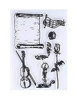 [バイオリン]クリエイティブな透明な工芸スタンプ2セットスクラップブッククリアスタンプ