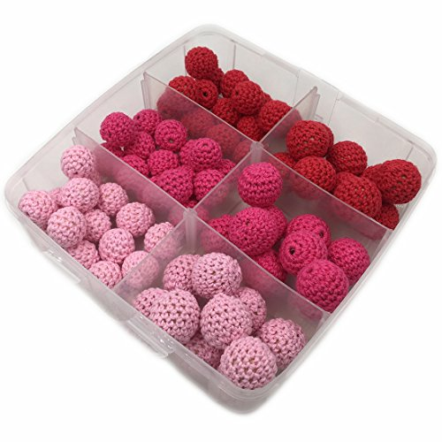Coskiss 75pcs Rosa ganchillo serie de bolas bolas de madera tejidas con cuentas dentro de la dentición de enfermería Cuentas ganchillo joyería y accesorios de bricolaje Kit (A170)