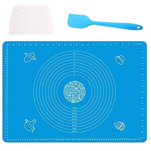 Nifogo Stuoia di Rolling della Pasticceria del Silicone, Pasta di Silicone al Calore Impasto Farina Mat Table Pad Design Bilancia da Cucina Strumenti di Cottura,50X70CM (Blu