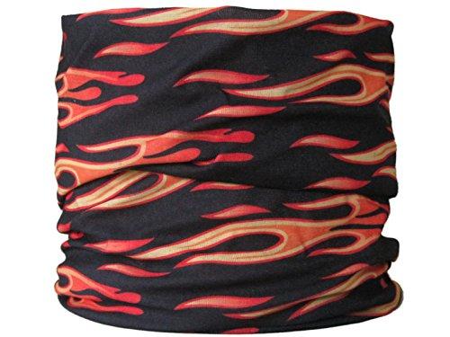 Braga para el cuello, pañuelo de microfibra multifunción, diseño de llamas negras y amarillas