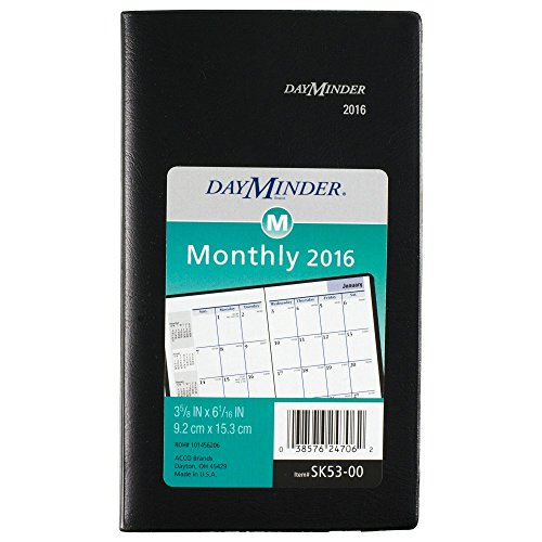 DayMinder Monthly Planner 2016, 3-5/8 x 6-1/16 Inches, Black (SK53-00-16)