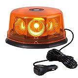 Justech Luz Emergencia Coche 8 COB LED Luz Estroboscópica de Advertencia Ámbar 48W Rotativo LED 12 Modos de Flash Luz Intermitente IP65 Impermeable con 5M Cable para 12/24V Camión Vehículo