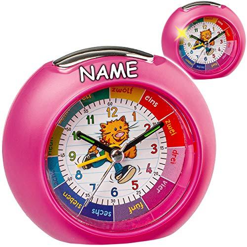 alles-meine.de GmbH LED Licht - Kinderwecker / Lernuhr - Analog - pink / rosa - Tier Katze - inkl. Name - Lernwecker - + -1 Minuten Schritten Anzeiger - Lernzifferblatt mit Nacht..