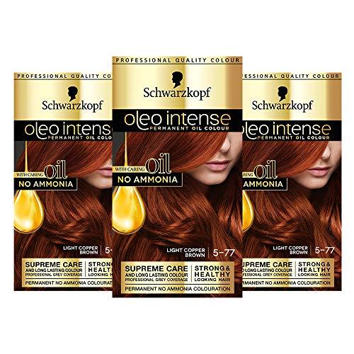 Schwarzkopf Oleo Intense Tinte de cobre para el cabello, 3 unidades de color al óleo permanente, sin amoníaco, cubre grises, 5-77 marrón cobre claro