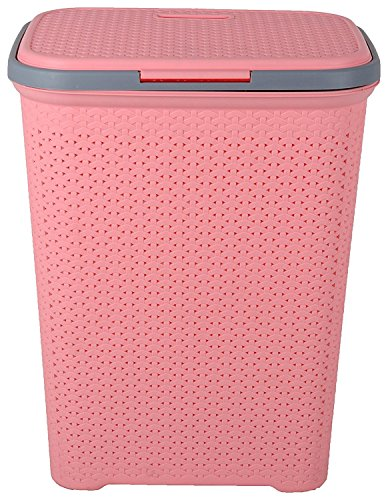 IncredibleThings Plastic Laundry Basket with Lid for...