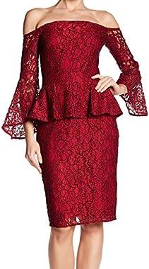 LAUNDRY BY SHELLI SEGAL Women's Lace Peplum Sheath Dress