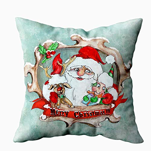 Green Haoke Federa Quadrata Federa Per Auguri Di Natale Vintage Federa Per Cuscino Decorativo Per Divano Letto 18×18 Pollici