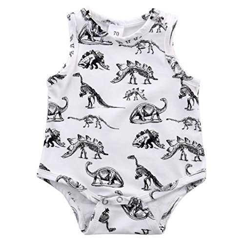 Longra Bébé Garçon Fille Copie de Dinosaure Jumpsuit Romper Vêtements (0-2 Ans) (12M, Blanc)