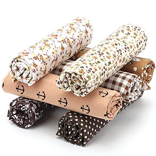 Baumwollstoff Meterware (50x50CM), 100{dd7751b6226b6d5fe466294e61ee1226284d3773e2a802efe6f3426a6bd6f7ca} Baumwolle Stoffe zum nähen, 7 Pcs DIY Patchwork Stoffe Paket, Umweltschutz Drucken Baumwolle Stoff für Alle Arten von Kleinen Handgemachten (#7, 50 * 50CM)