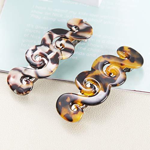 2 Stück Wirbel Französisch Haarspange Schildpatt,Zelluloid Leopard Haarspangen Mittelgroß Haarclips Für Damen dickes Fein Langes Haar