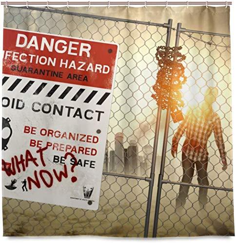 Gefahr Zombie Zone Duschvorhang Wasserdichtes Polyestergewebe Bad Curtian Badezimmer Dekor