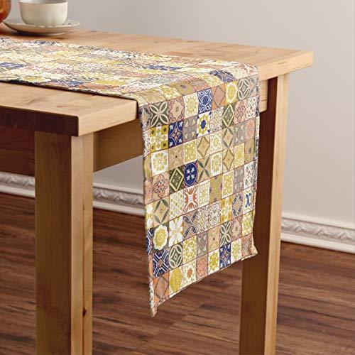 CICIDI Camino de mesa corto de azulejos marroquí, amarillo y azul, mantel para fiestas, cenas, vacaciones, cocina, 13 x 70 pulgadas