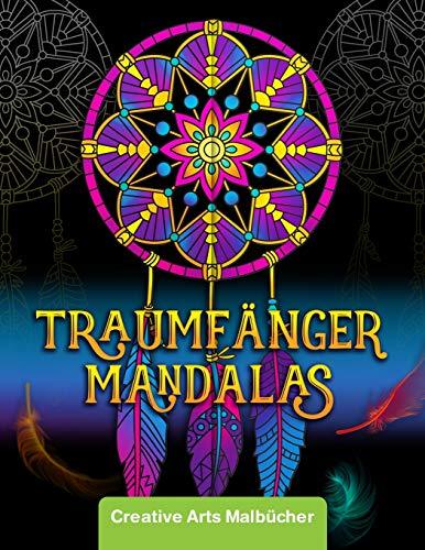 Malbuch für Erwachsene: Magische Traumfänger Mandalas auf schwarzem Hintergrund - Ausmalen und Stress abbauen! - Hochwertiges und Dickes Ausmalbuch mit einseitig bedruckten Seiten - A4