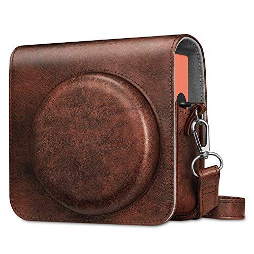 FINTIE Custodia per Fujifilm Instax Square SQ1 Fotocamera Istantanea - PU Protettiva Case Borsa in Pelle con Tracolla Regolabile, Marrone