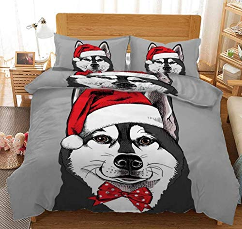 OUANGG Christmas Duvet Cover Queen Size Set, Santa Claus 3D Printed Quilt Cover Bedding Sets,Ultra Soft Warm for Children Adults Women Men New Year (K,Full: 79x90in)