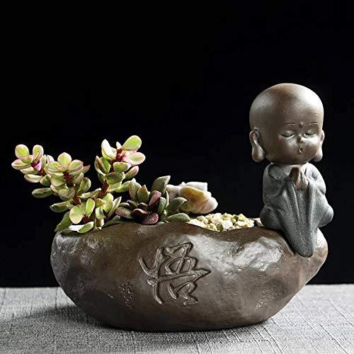 SONGDA Mini Monje Creativo macetas suculentas, Materiales cerámicos Gruesos, decoración de Mesa pequeña, Oficina, decoración de jardín,Enlightenment