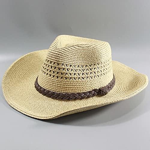 ATARSM Sombrero para el Sol para Hombre Sombrero de Paja para Hombre Sombrero de ala Ancha para Playa Gorra Plegable Big Bone Hombres de Talla Grande Sombrero Fedora 58Cm 60Cm 62Cm