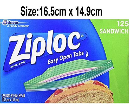 Ziploc - Bolsas para sándwich (125 unidades, 16,5 x 14,9 cm)