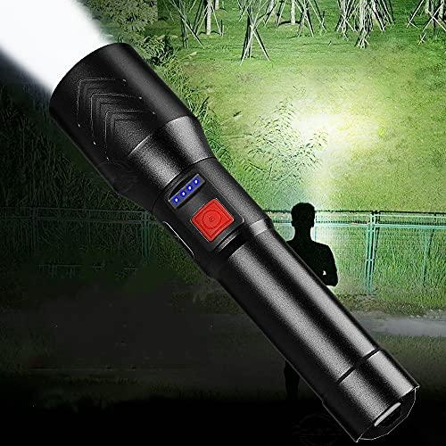 Linterna LED súper brillante recargable, 6000 lúmenes XHP50 Linterna táctica de alta potencia con zoom 5 modos Linterna LED Batería incorporada Linterna de mano con pantalla de energía para acampar
