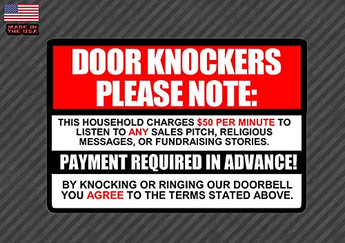 OwnTheAvenue No Soliciting Sign Decal Sticker $50 per Minute Door Knockers Funny Window 6""